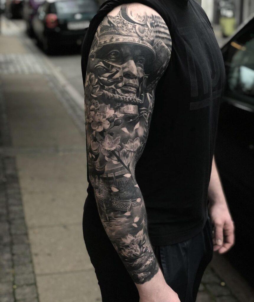 tattoo sleeve black and grey