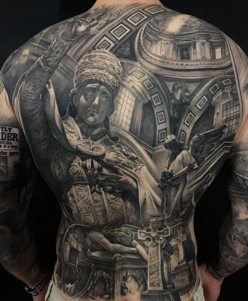 Full back tattoo black and grey