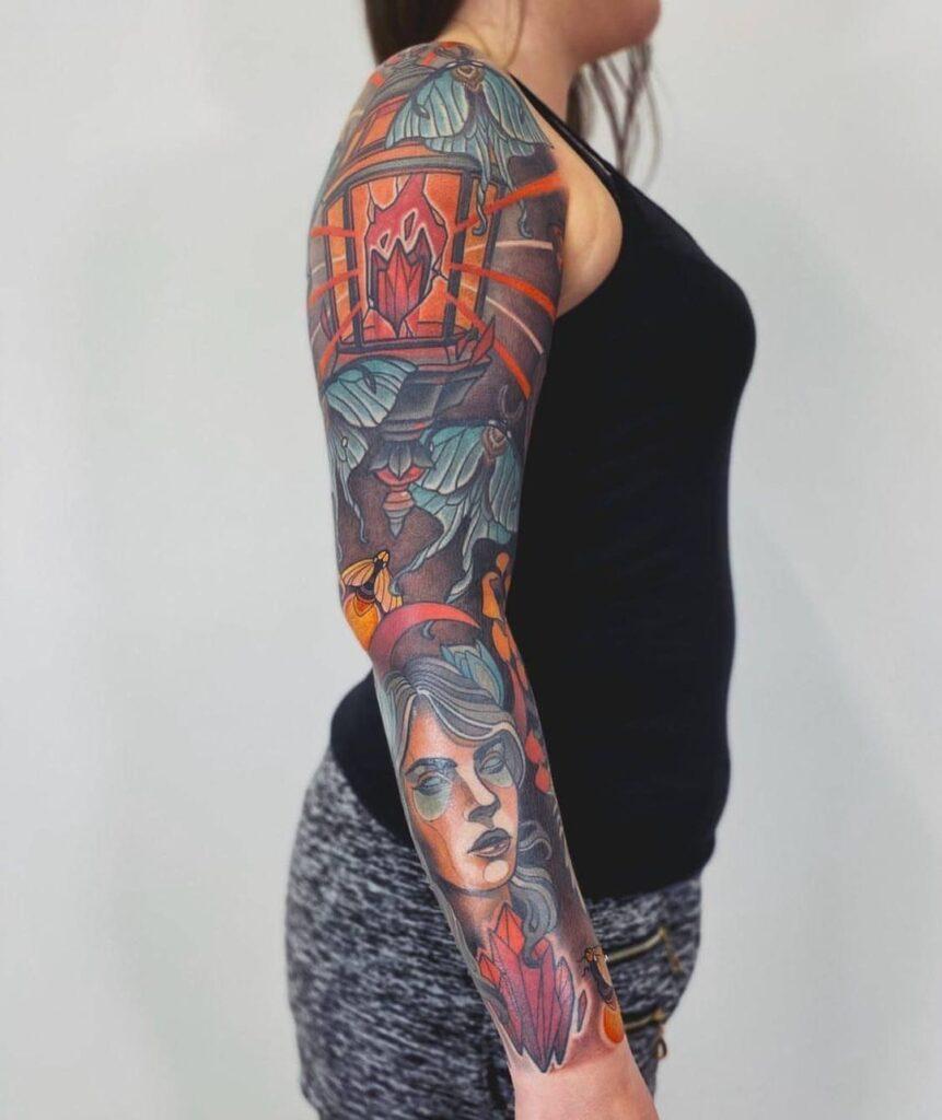 Full sleeve tattoo new school